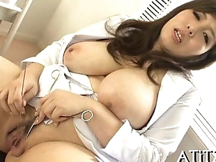 Breasty oriental thrills with blowbang - 5 min