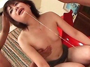 Asian cutie forced into oral sex chokes on two..