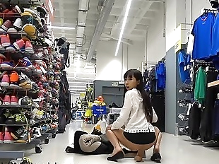 Gets Busted In A Sports Store, Anal & Squirt! -..