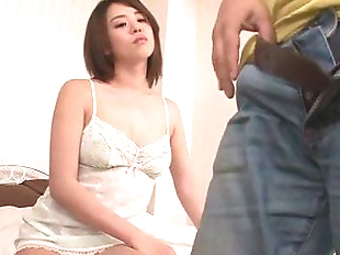 Busty Yuna Satsuki in lingerie gives an asian..