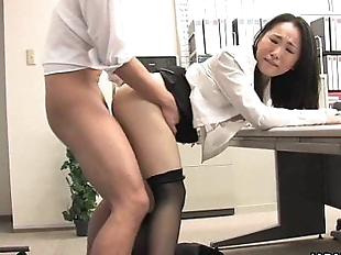 Asian lady shagged by two coworkers in her..