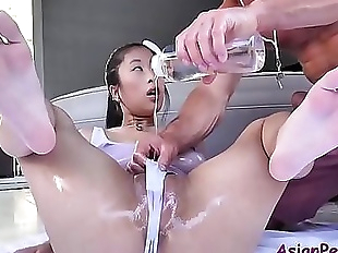 Asian slut oiled and massage for all wrong..