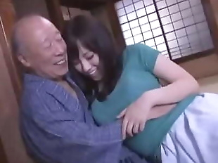 Sexy Azusa Nagasawa has sex with two lucky old..
