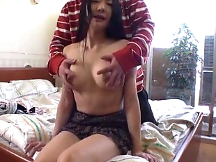 Miho Wakabayashi applies great force in a big..