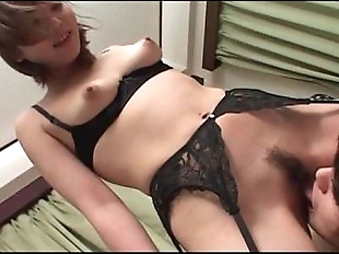 Teen jap cutie flashing perky tits gets hairy..
